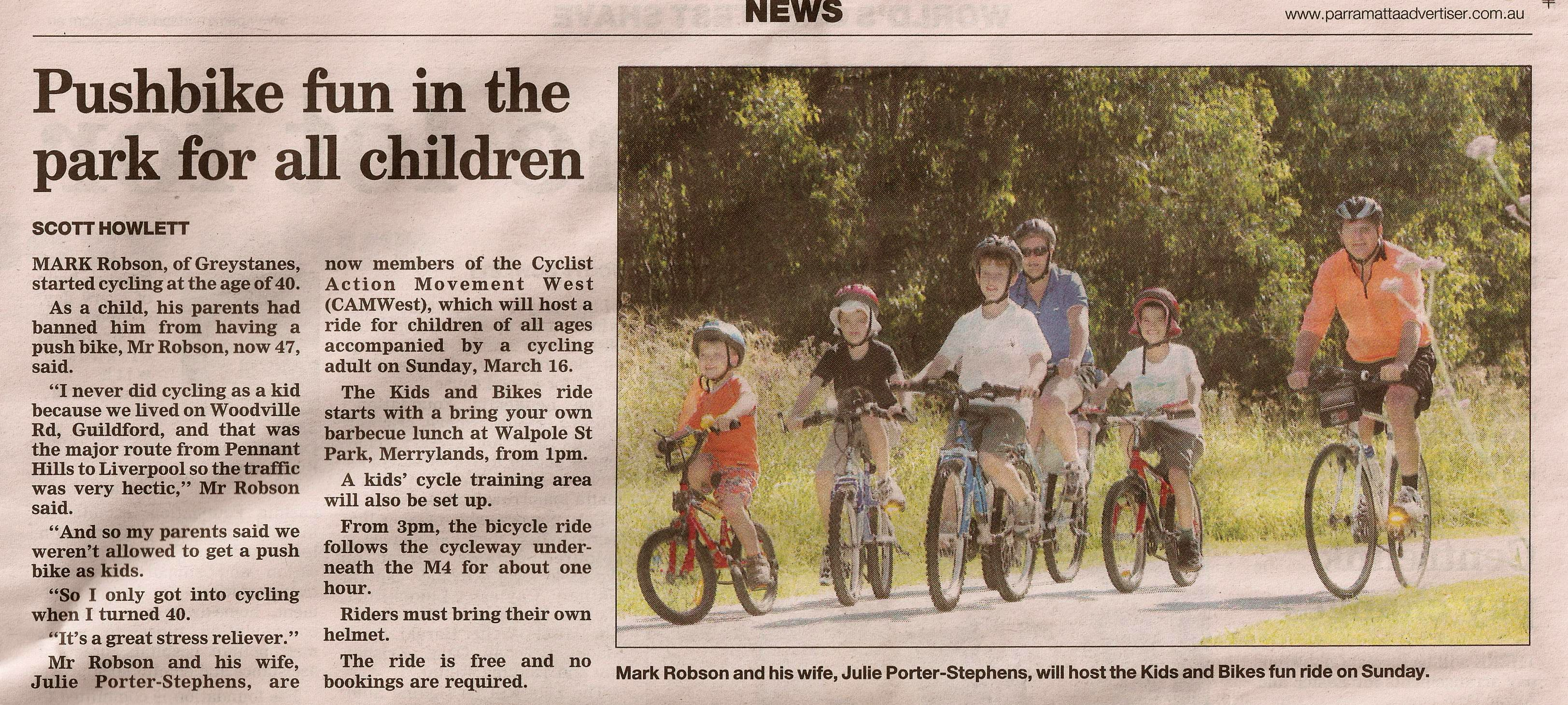Ride Advertised On Page 7 Of 12 March Parramatta Advertiser With Story And Photo